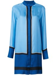 Diane Von Furstenberg Mandarin Neck Shirt Dress Women Silk S Blue