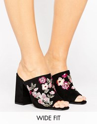 New Look Wide Fit Embroidered Heeled Mule Black