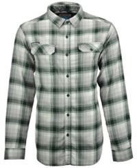 Columbia Men's Michigan State Spartans Long Sleeve Flannel Button Up Shirt Green White Gray