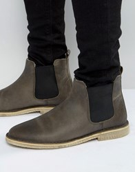 Asos Chelsea Boots In Grey Leather With Faux Shearling Lining Grey