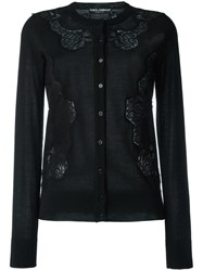 Dolce And Gabbana Lace Insert Cardigan Black