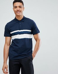 Selected Homme Polo Shirt With Block Stripe Detail Dark Sapphire Navy