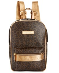 Calvin Klein Monogram Backpack Brown Khaki Camel