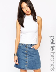 New Look Petite Ribbed Sleeveless High Neck Crop White