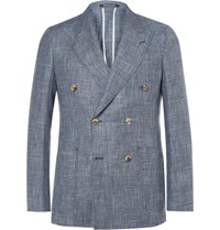 Richard James Blue Spirit Slim Fit Double Breasted Checked Linen And Wool Blend Blazer Blue