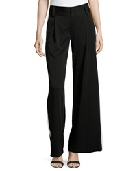 Alice Olivia Tuxedo Stripe Wide Leg Pants Black