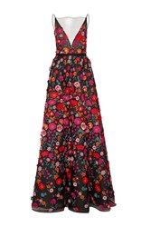 Lela Rose Embroidered Plunging V Neck Gown Black
