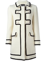 Boutique Moschino Contrast Trim Double Breasted Coat White