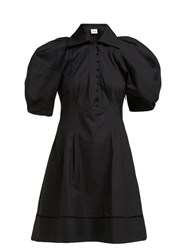 Khaite Carline Puff Sleeve Cotton Mini Dress Black