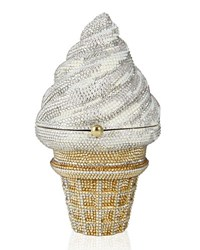 Judith Leiber Ice Cream Cone Crystal Clutch Bag White