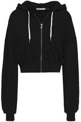 Alice Olivia Cropped Printed French Cotton Terry Hooded Sweatshirt Black