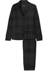 Rails Checked Flannel Pajama Set Black