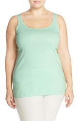 Eileen Fisher Plus Size Women's Eileen Rib Knit Organic Cotton Scoop Neck Long Tank Green Mint