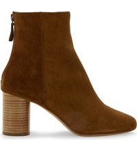Sandro Sacha Suede Heeled Ankle Boots Camel