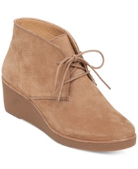 Lucky Brand Women's Junes Lace Up Platform Wedge Booties Women's Shoes Sesame