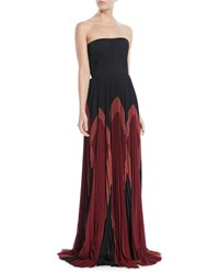 J. Mendel Strapless Plisse Silk Colorblock Gown Black Red