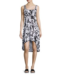 Marc Ny Performance Floral Print High Low Tank Dress Black