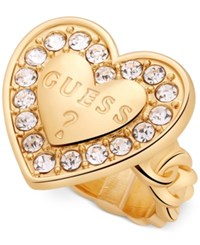 Guess Rose Gold Tone Crystal Heart With Logo Ring