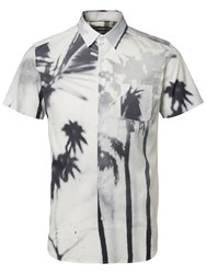 Selected Homme Palm Print Short Sleeve Shirt White