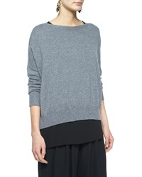 Eileen Fisher Fine Gauge Cashmere Box Top Women's Ash Gray