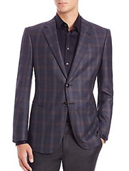 Giorgio Armani Plaid Wool And Cashmere Blazer Navy