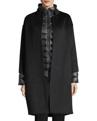 Fleurette Nehru Collar Wool Coat W Detachable Lightweight Puffer Jacket Black Charcoal
