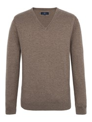 Paul Costelloe Men's Mansion V Neck Merino Jumper Beige
