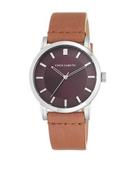 Vince Camuto Stainless Steel Tan Leather Strap Watch Beige