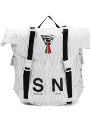 Undercover S N Printed Square Backpack White