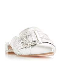 Dune Charing Slip On Mules Silver