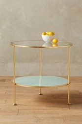 Anthropologie Lacquered Round Side Table Pistachio Cream