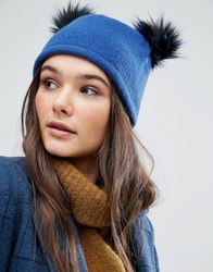 Helene Berman Double Pom Pom Pull On Beanie Hat Blue Black Tipped Navy
