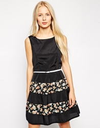 Pussycat London Belted Dress With Floral Border Print Black