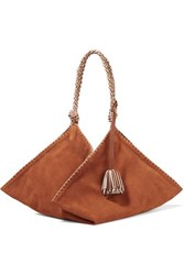 Ulla Johnson Behati Origami Large Leather Trimmed Suede Tote Light Brown