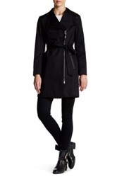 Mackage Genuine Leather Trim Asymmetrical Zip Trench Black