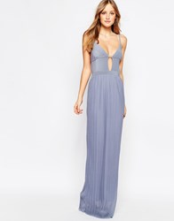Daisy Street Maxi Dress With Pleated Skirt And Keyhole Detail Blue