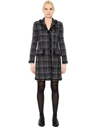 Thom Browne Wool And Mohair Blend Boucle Tweed Coat