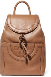Tory Burch Serif Textured Leather Backpack Tan