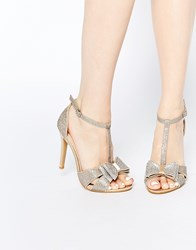 True Decadence Gold Glitter Bow Detail Heeled Sandals Gold