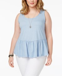 American Rag Trendy Plus Size Cotton Ruffled Tank Top Only At Macy's Heather Indigo