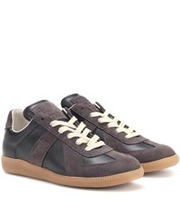 Maison Martin Margiela Replica Leather And Suede Sneakers Brown