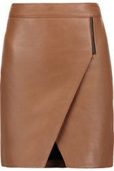 Michelle Mason Wrap Effect Leather Mini Skirt Brown