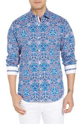 Tailorbyrd Big And Tall Aldrin Regular Fit Print Sport Shirt Teal