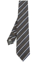 Canali Striped Tie Brown