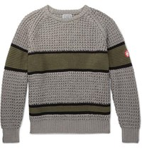 Cav Empt Striped Waffle Knit Cotton Sweater Gray