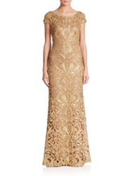 Tadashi Shoji Cord Embroidered Lace Gown Black Nude Mystic Blue Nude