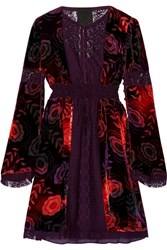 Anna Sui Lace Paneled Printed Velvet Mini Dress Dark Purple