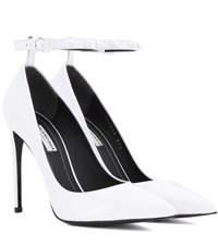 Balenciaga Embellished Patent Leather Pumps White