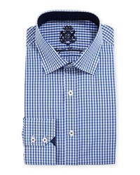 English Laundry Gingham Cotton Dress Shirt Navy