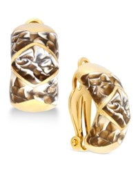 Erwin Pearl Atelier For Charter Club Silver Tone Blue Swirl Clip On Huggie Earrings Only At Macy's Brown Gold